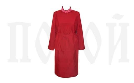 Костюм женский бордовый с цветами ТЕКС-Б